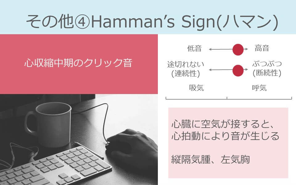 聴診、呼吸音、Hamman's Sign